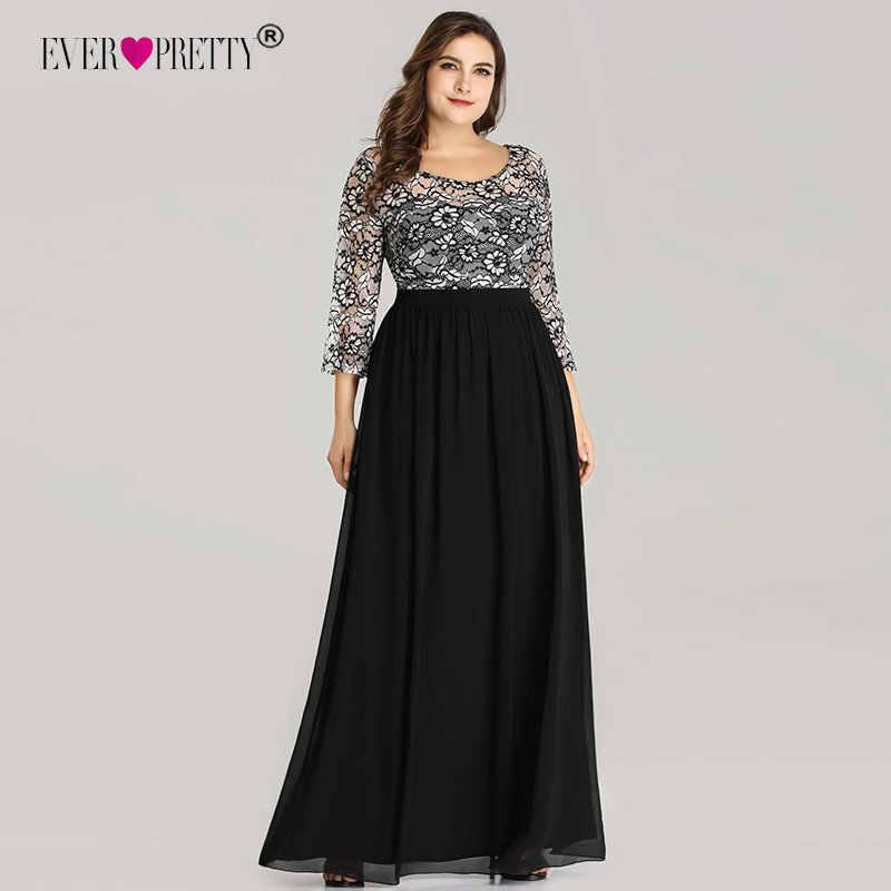 ebe515b40e785 Plus Size Prom Dresses Ever Pretty EZ07688 Long 2018 A-line O-neck Lace  Long Sleeve Chiffon Winter Black Elegant Robe De Soiree