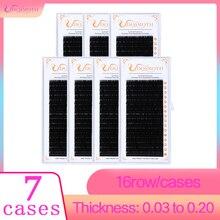 7 trays 16 rijen/case individuele nertsen wimper extensions supples Valse Valse wimper verlenging individuele wimpers valse wimpers