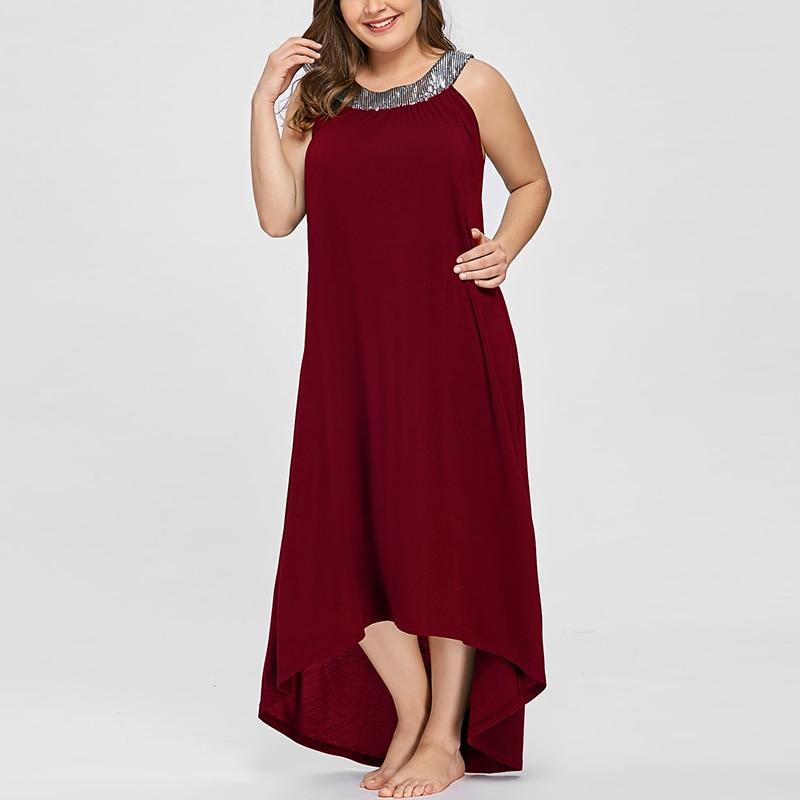 Cuello 3 Largo 2019 En Sexy púrpura Lentejuelas O Maxi Vestidos Vestido Nuevo Casual rojo Verano Con Hombro Mujeres Negro Colores nZW10qq