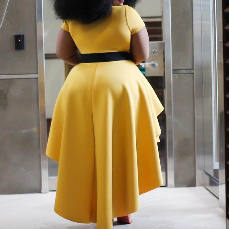 Yellow Women Dresses African 2019 Summer Short Sleeve Ruffles Elegant Party Robe Dress Plus Size High Waist Dinner Maxi Dress in Dresses from Women 39 s Clothing