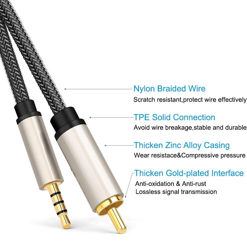 RCA Coaxial Aux RCA to 3.5mm Jack SPDIF Stereo Digital Coaxial Audio Video RCA Aux Cable For Xiaomi Mi 1/2 TV Amplifier Soundbar