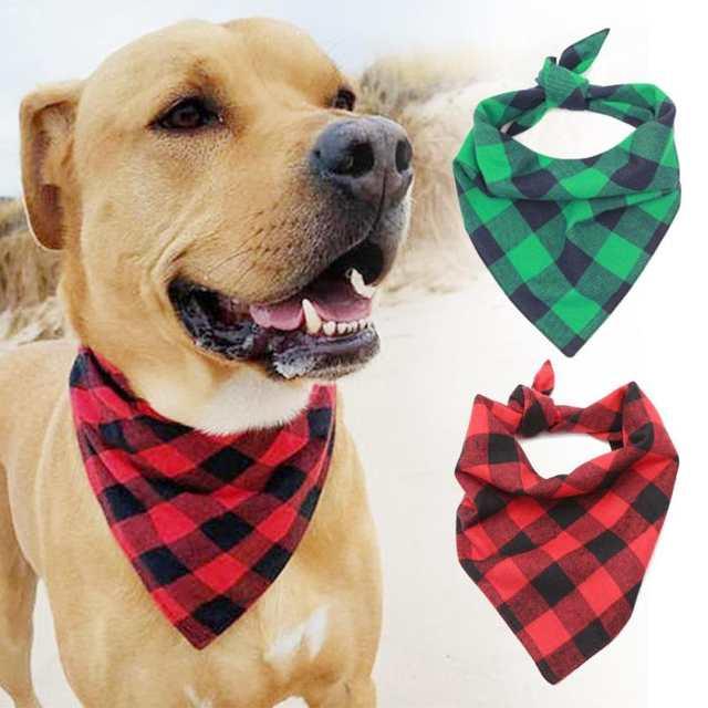 1 Pcs Pet Dog Bandana Buffalo Plaid Personalized Dog Scarf Pet Tie Flannel Bandana Triangular Bandage Dog Handkerchief A30