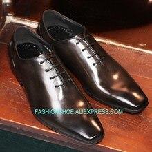 Gli Uomini italiani Scarpe Goodyear in pelle Oxford Genuino Lace up Della  Mucca di Modo Uomo Formale Scarpe Da Lavoro Nero Scarp. b8ca023d0bf