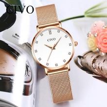 CIVO New Fashion Ladies Watches Women Luxury Rhinestone Bracelet Watch Waterproof Steel Mesh Quartz Clock Relojes Mujer