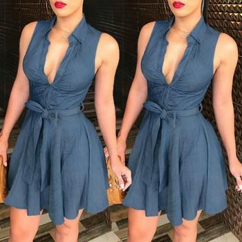 Women's Button Denim Mini Dress 4