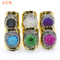 5pcs Natural Druzy Adjustable Raw Stone Ring pave rhinestone Solar Quartz Ring Gold color plated bezel Boho sunflower druzy ring