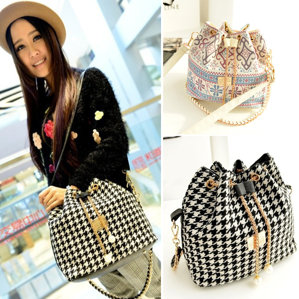 Bucket Tote Shoulderbag Crossbody Bag Canvas Drawstring Bucket Bags Shoulder Handbags Faux Pearl Letter #30