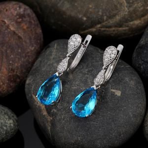 Image 5 - SANTUZZA Jewelry Set For Women Magic Sky Blue Crystal CZ Stones Drop Earring Pendant Set 925 Sterling Silver Fashion Jewelry