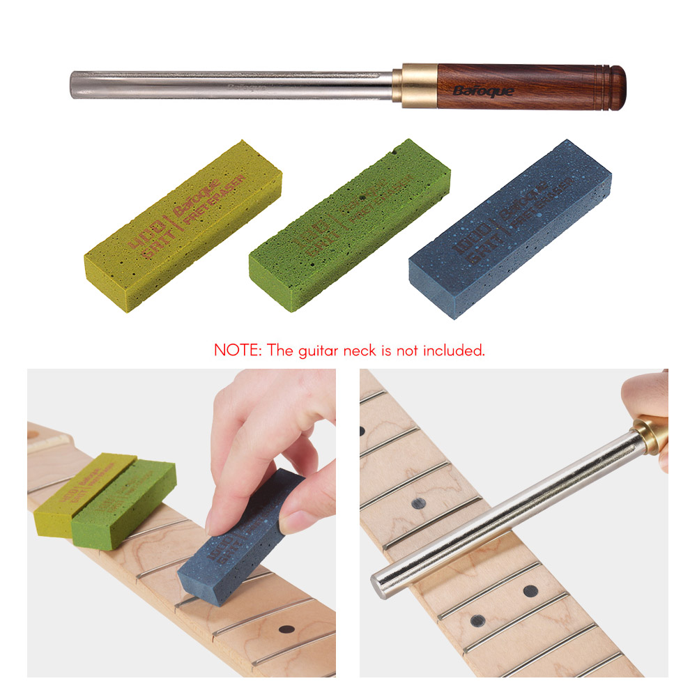 Guitar Repair Tools Kit 3pcs Guitar Fret Polishing Erasers and Guitar Fret Dressing Metal File with 3 Size Edges Wooden HandleGuitar Repair Tools Kit 3pcs Guitar Fret Polishing Erasers and Guitar Fret Dressing Metal File with 3 Size Edges Wooden Handle
