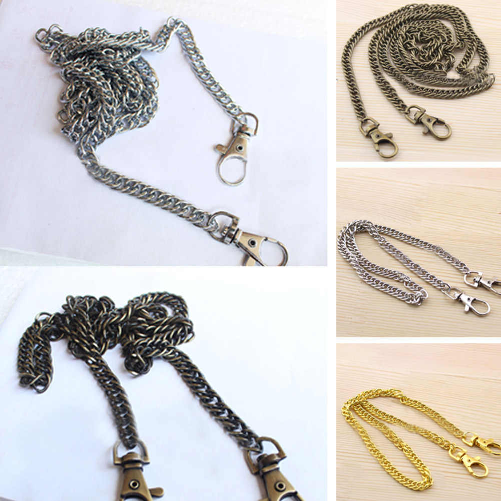 120cm Metal Chain Handles Bag Parts Shoulder Bags Handbag Purse Shoulder Bags Strap Buckle Handle DIY Belt replacement Accessory