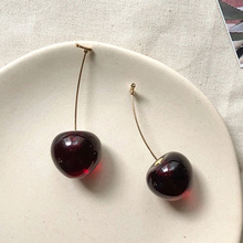 цена на 1 Pair sweet resin simulation red cherry fruit earrings for women girl unique fashion dangler gold classic party gift jewelry