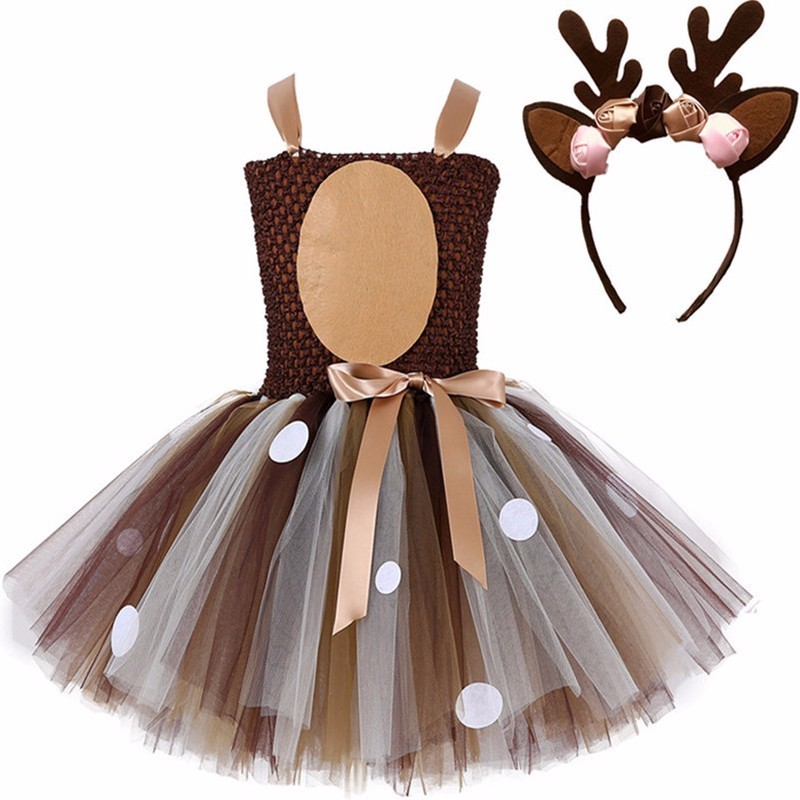 Girls Animal Christmas Brown Deer Cosplay Princess Dress Kids Halloween Birthday Party Sika Deer Dress  With Headband Set