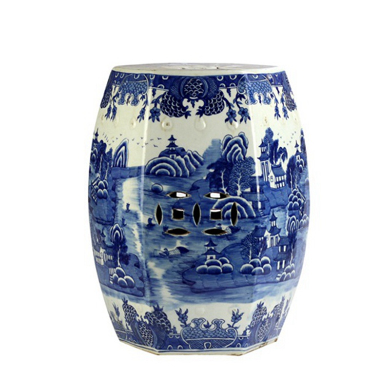 Modern Blue And White Ceramic Stool Hand Painted Planter Pattern Porcelain Stool For Home And Garden Furniture Accessory