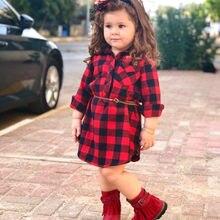 От 0 до 5 лет Рождество малышей новорожденных платье для маленьких девочек Красный Клетчатый хлопковый вечерние платье с длинными рукавамиодежда