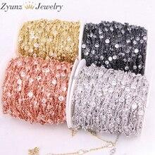 5 metros ZYZ323 9196 4mm limpar zircônia cúbica corrente latão metal rosário correntes para diy jóias que fazem acessórios