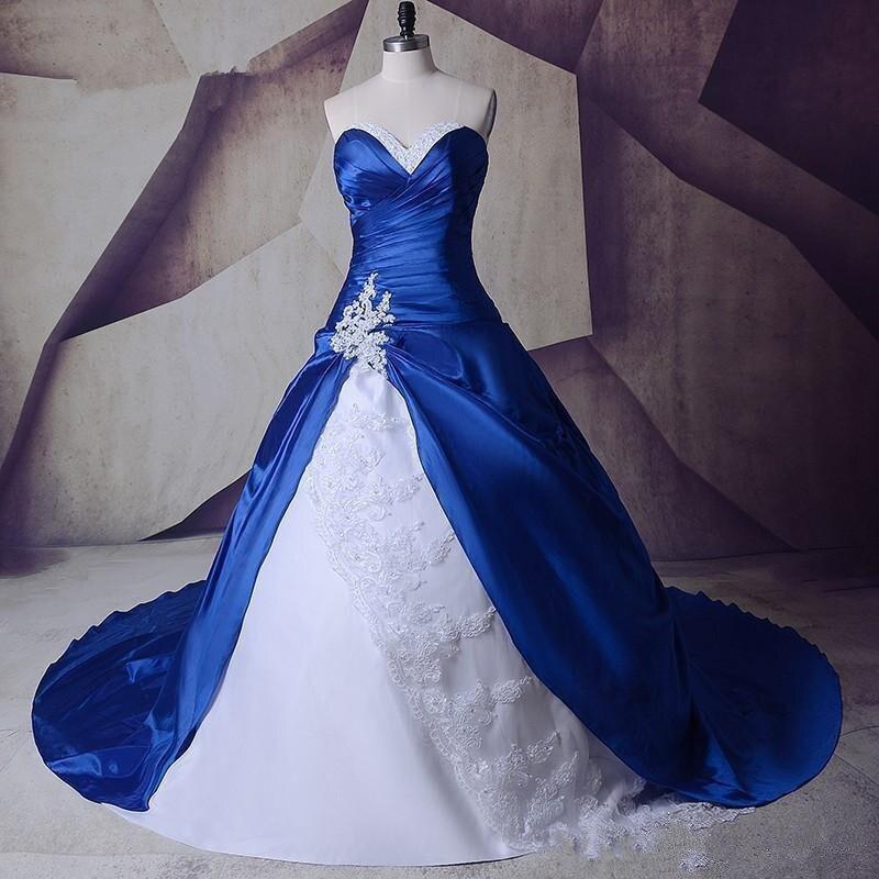 Robe de mariée 100% blanche et bleue dentelle 2019 une ligne taffetas Appliques Corset à lacets dos balayage Train robe de mariée perles