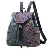 Women Geometric Flash Backpack Shoulder Bag PU Leather All Match Zipper Pocket Tote Travel Dating Large Capacity Rhomboids #20