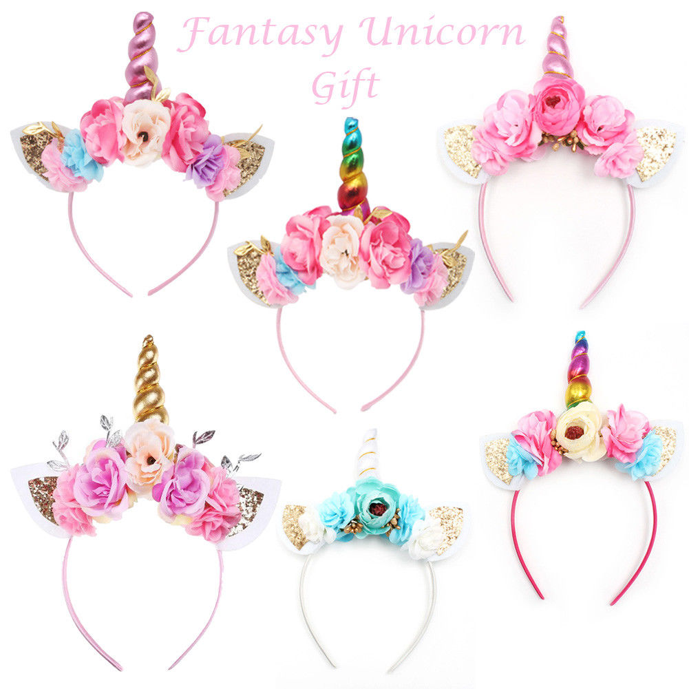 Brand New 2018 Women Kids Party Gold/Silver Unicorn Horn Headband Flower Horn Girls Headwear Birthday Hairband Hair Accessories(China)