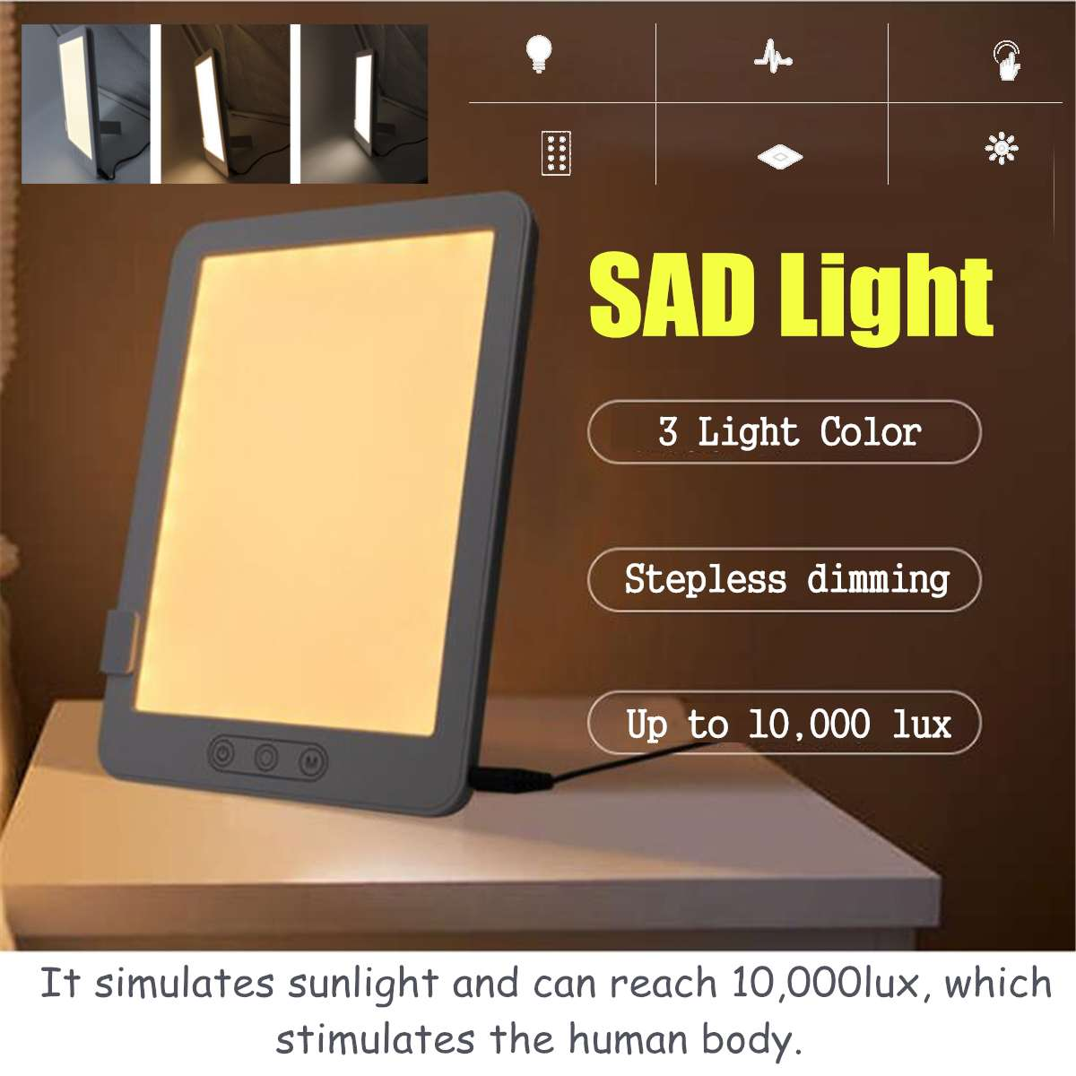 3 Mode Portable LED SAD Night Light Pad Box Simulated Daylight Therapy Sun Lights Phototherapy Affective Disorder Cure Lamp