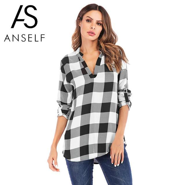 17301e8f055 Women Plaid Shirt Loose Casual Oversized Tops V Neck Long Sleeves Roll-up  Office Work Wear Blouses Plus Size 3XL 4XL 5XL tunics