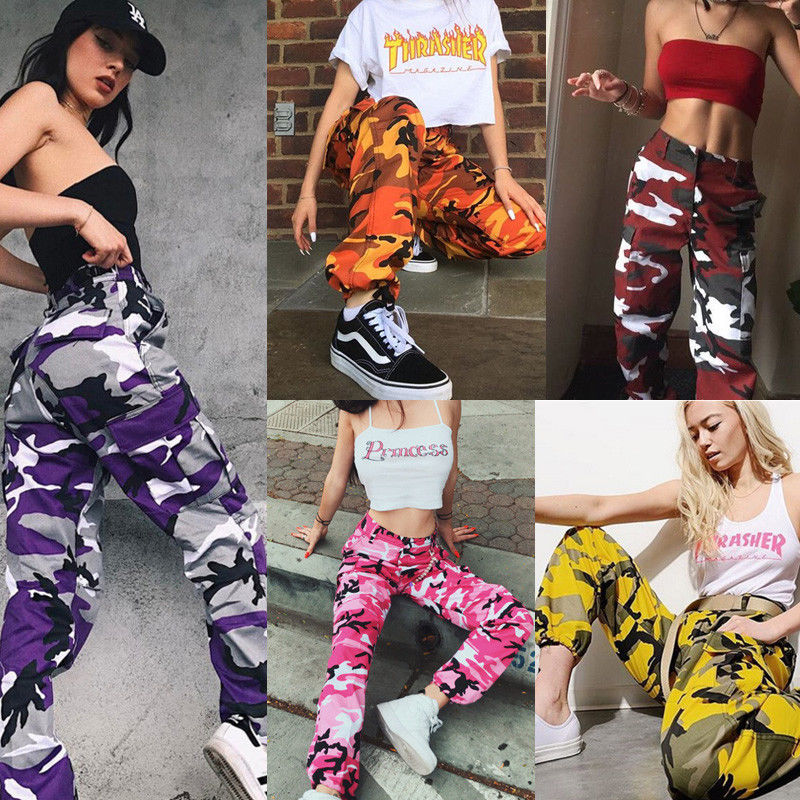 Womens Camo Cargo Trousers Casual Pants Military Army Combat Camouflage Jeans Jeans High Waist Trouser Jeans Women Bottom ! Plus Size Women's Clothing & Accessories