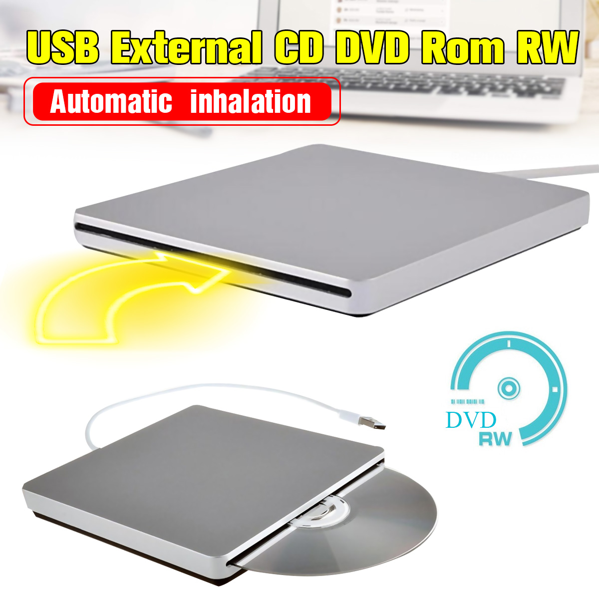Portátil Ultra Slim USB 2,0 ranura externa-en CD Rom de DVD RW jugador quemador unidad para iMac MacBook aire para Mac Win8 portátil