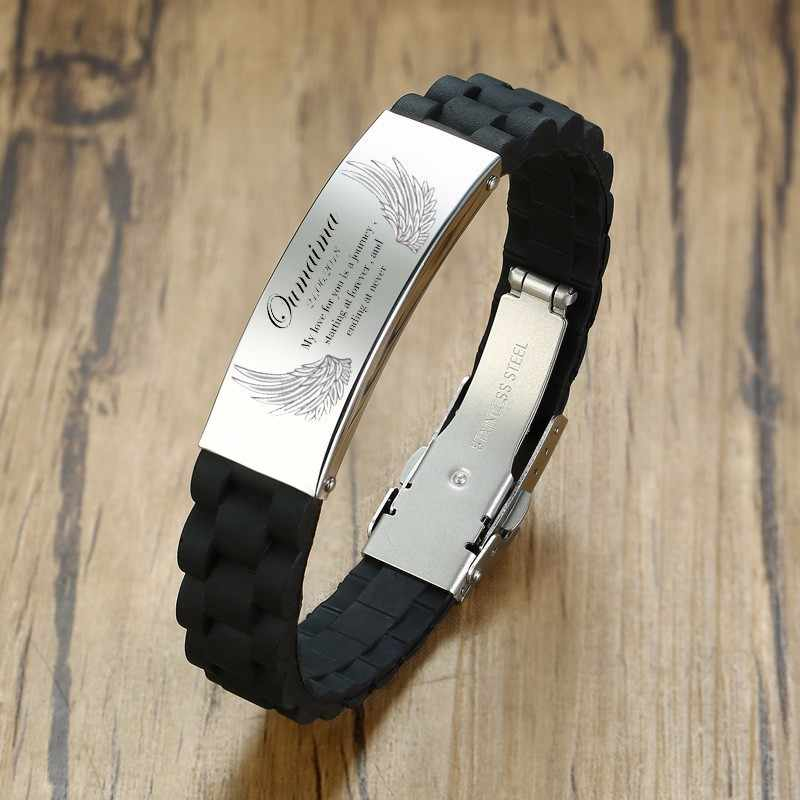 Mens ID Bracelets Stainless Steel Silicone Wristband Child Fits Adults Kids Identification Personalized Men Jewelry