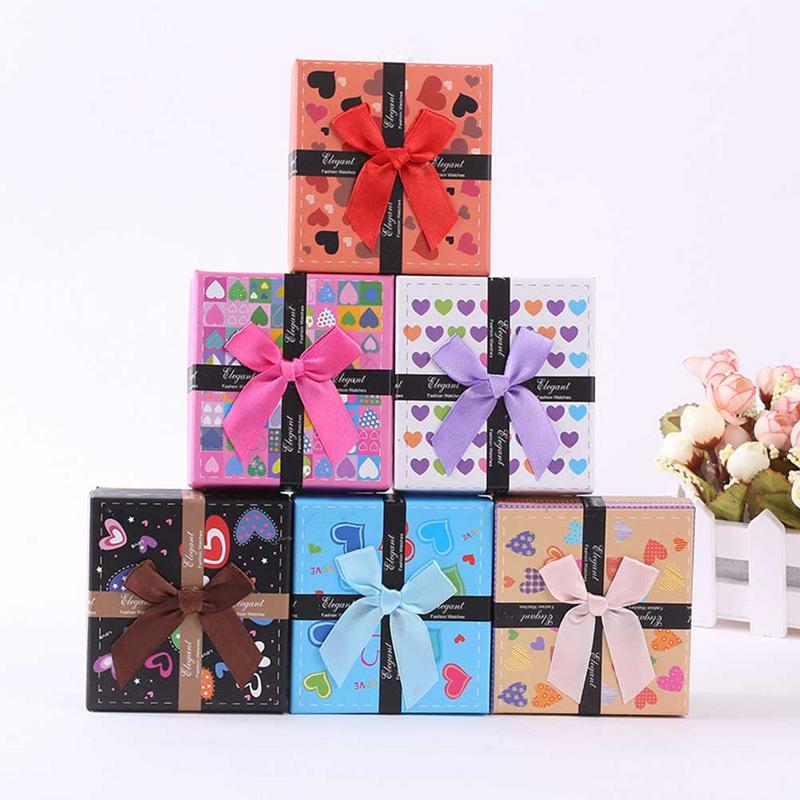 MISS M 1Pc Beauty Bowknot Cartoons Display Gift Box Cardboard Case For Ring Earring Necklace Jewelry Holder Container