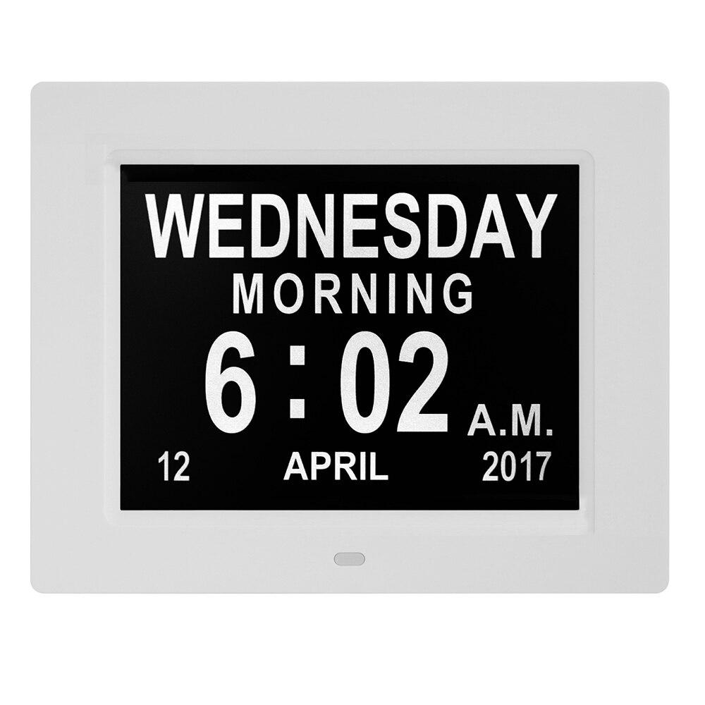 """8 """"Cal LCD zegar cyfrowy kalendarz data dzień zegar czasu Auto ściemnianie 8 języków wyświetlacz HD przypomnienie o alzheimera ue/ US wtyczka w Budziki od Dom i ogród na  Grupa 1"""