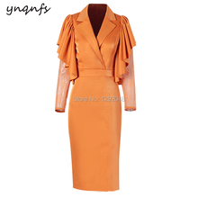 YNQNFS M41 Chic Satin Dress Cape Ruffles Long Sleeve Orange Party Gown Cocktail Vestido Formal Mother