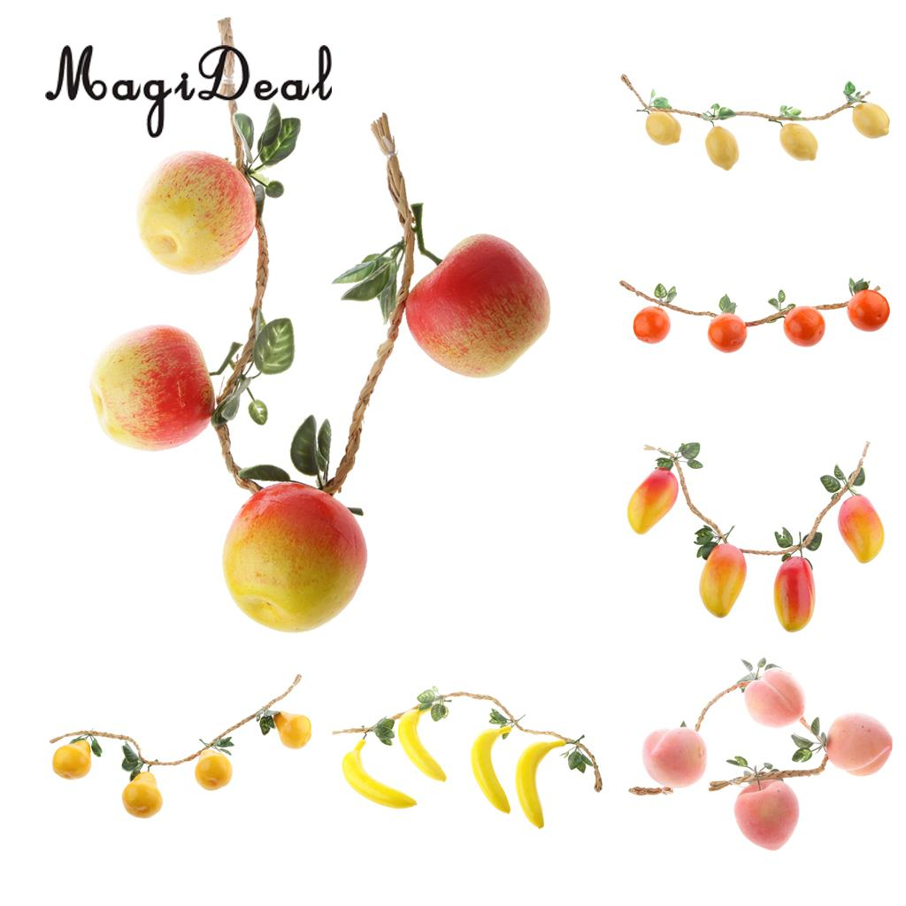 MagiDeal 4pcs/String Artificial Lemon Toy Photography Prop Plastic Fruit For Wedding Party Home Restaurant Decoration gooseberry