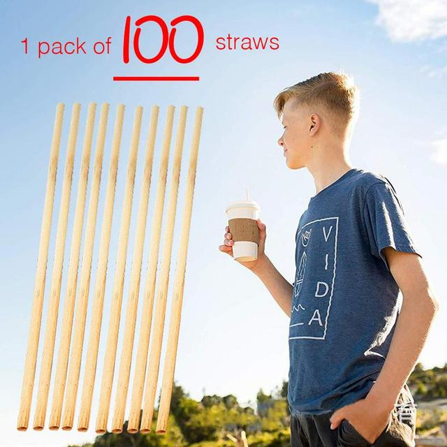 Hot 100PCS/Pack Straw Grade A+ 20CM Sturdy Biodegradable Wheat Straw Environmentally Friendly Straws For Mugs Party Accessory