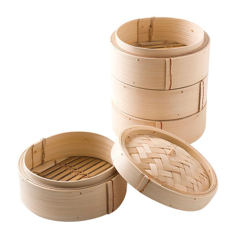 Cooking Bamboo Steamer One Cage And One Cover Fish Rice Vegetable Snack Basket Set Cookware Kitchen Cooking Tools S/M/L Size