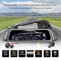 Phisung K900 9.35 Inch IPS Car Dash Cam 1080p+720p Dual Lens Rearview Mirror DVR Camera Night Vision Video Recorder G sensor