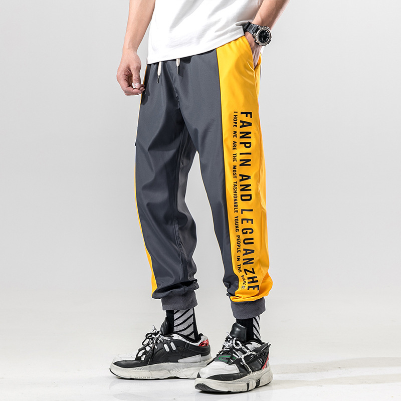 #2328 Joggers Men Colored Spliced Streetwear Hip Hop Pants Black Thin Grey Side Letter Printed Ankle-length Loose Plus Size 5XL