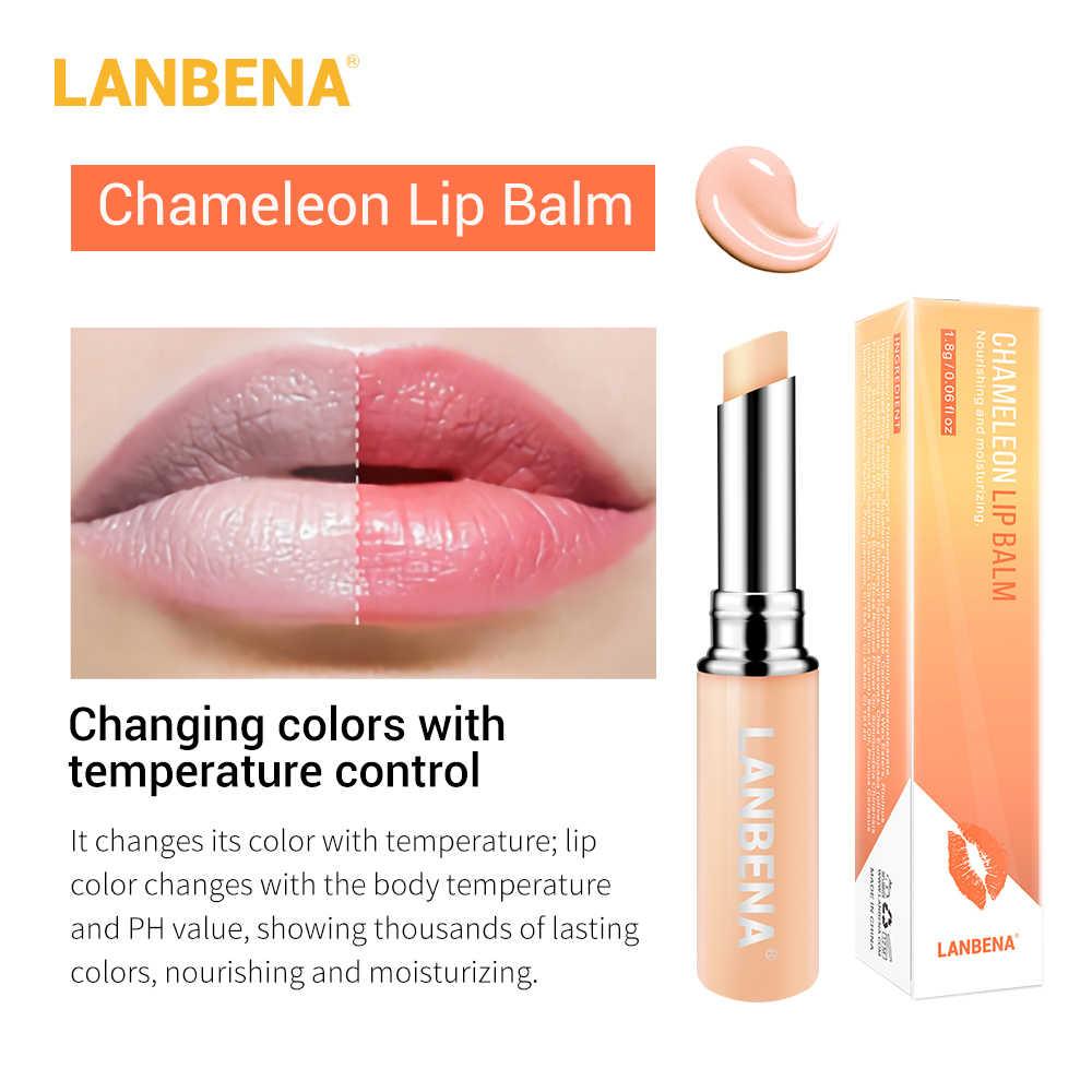 LANBENA זיקית שפתון חומצה היאלורונית עלה לחות טבעי מזין החלקת קווי שפתיים לטווח ארוך שפתיים טיפול