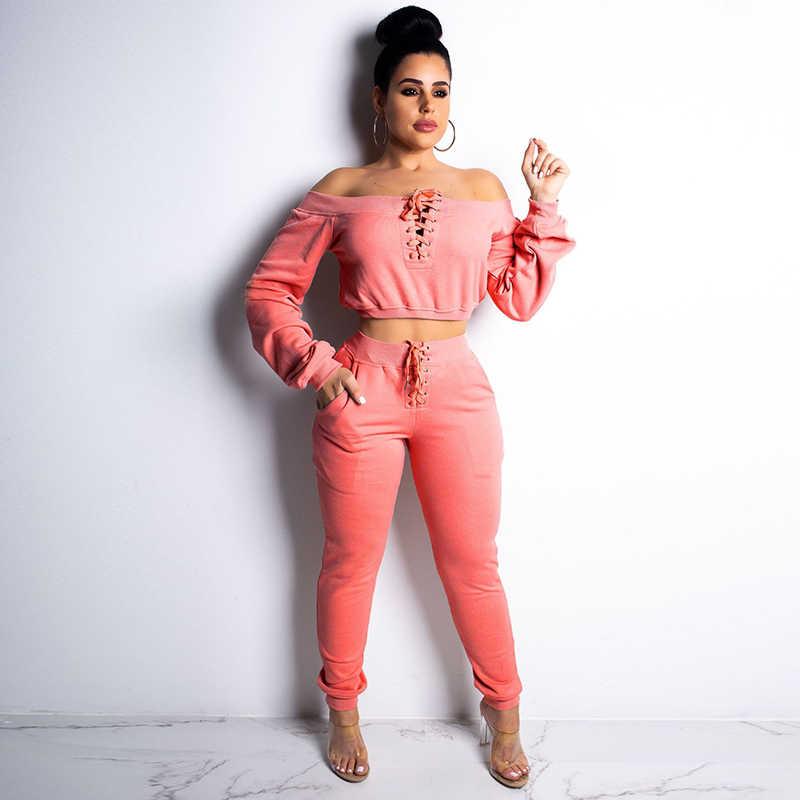 セクシーなクラブマッチング 2 点セット長袖女性服クロップトップオフショルダー女性ジョガーパンツ 2 ピース衣装