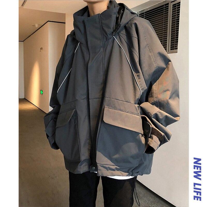 2018 zima męska bluza z kapturem bawełna Trend wacik kosmetyczny Bf wiatr gruba powłoka jednolity kolor duża kieszeń kurtka czarny/szary M 2XL w Parki od Odzież męska na  Grupa 1