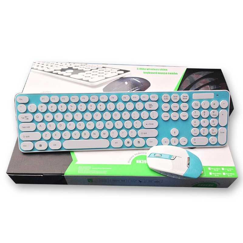 Hk3960 беспроводная клавиатура и мышь комплект круглый Keycap немой для домашнего офиса ПК ноутбук Голубой