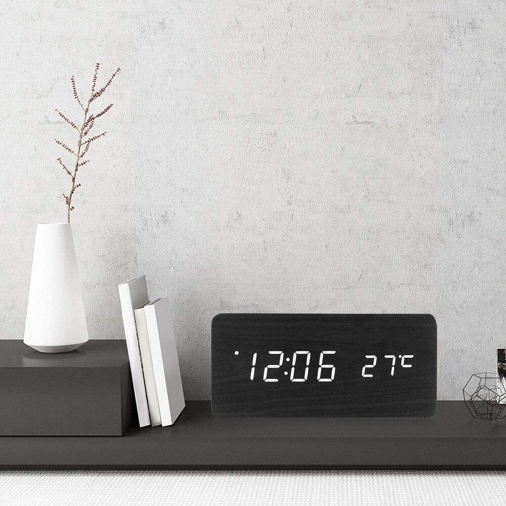 Famirosa Holz Wecker Nachtlicht Sound Control Zeit Temperatur Kalender USB Desktop Tisch Nacht Schwarz Holz LED Uhr