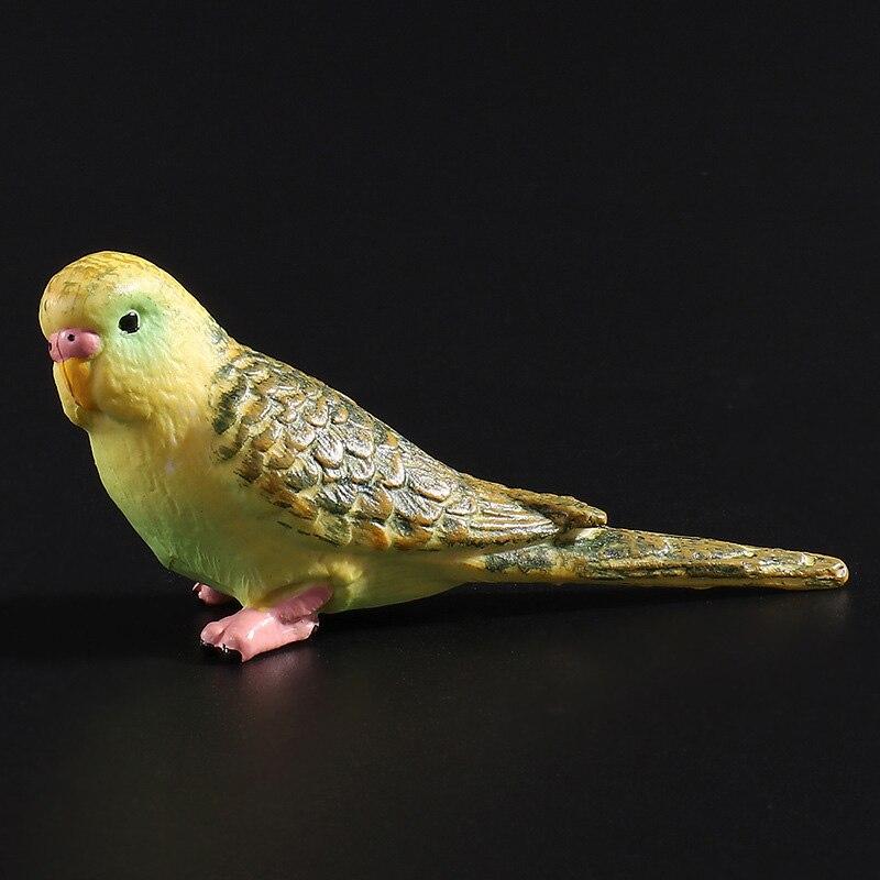 Plastic Realistic Bird Model Animals Action Figures - Budgerigar  Green/Blue