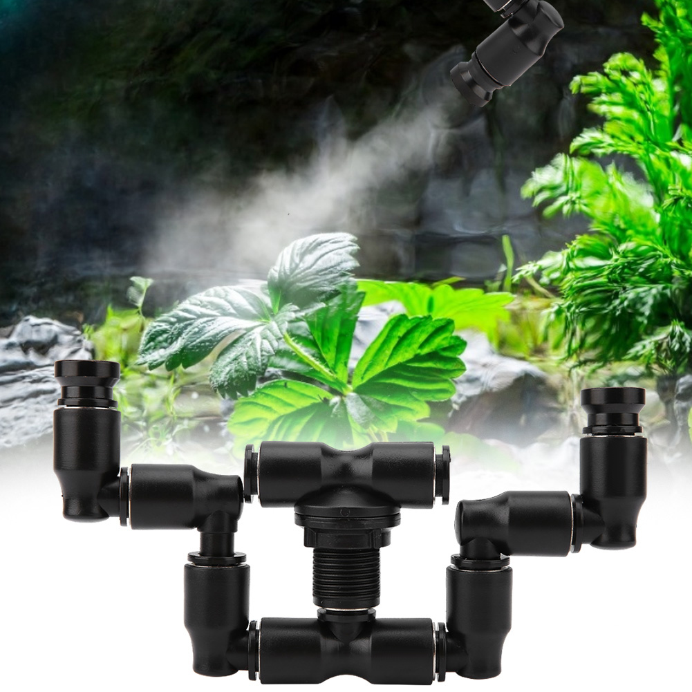 Reptiles Fogger Mist Sprinkler Rainforest Tank 360 Adjustable Aquarium Cooling System Connect1/4'' Tub With Double Head
