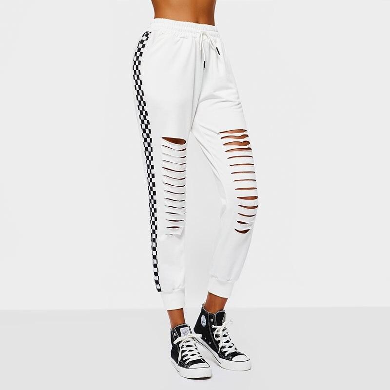 Harajuku модные повседневные брюки женские весенние популярные модные клетчатые свободные брюки с дырками уличная джоггеры белые длинные трен...