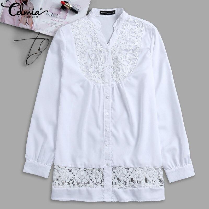 f5f493c2753 Celmia для женщин блузка кружево сращивания с длинным рукавом женская одежда  Sexy V образным вырезом полые