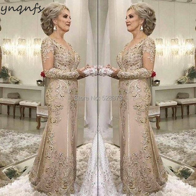 YNQNFS M07 Lace Appliques Long Sleeves Mermaid Vestidos Formal Dress Women Elegant 2019 Mother of the Bride Dresses Champagne 1