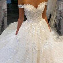 Vestido De Novia Lüks Prenses Balo Dantel düğün elbisesi 2019 Seksi Kapalı Omuz Dantel Up Geri Robe De Mariee özel Yapılmış