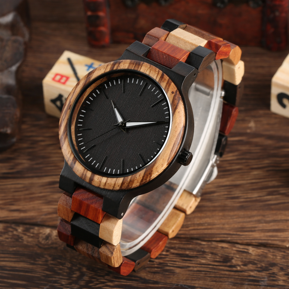 Relogio Feminino Natural Handmade Wood Watch Leather Band Strap Full Wood Watches Quartz Movement Best Gifts For Men Women