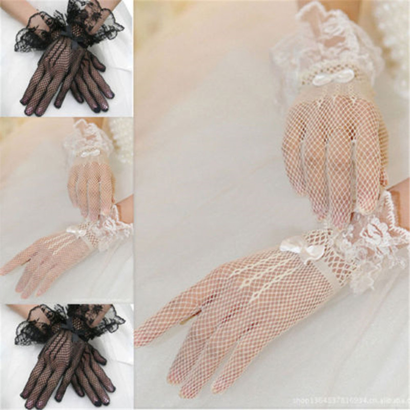 2019 Newest Sexy Gloves For Women Evening Party Prom Driving Costume Print Lace Gloves Pretty Mesh Bride Gloves Fashion Mittens