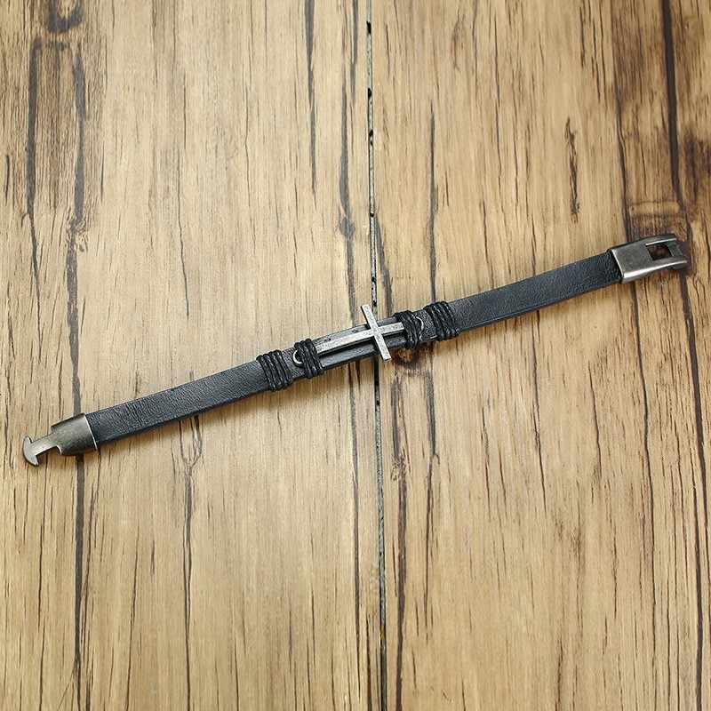 Homem cruz pulseira de couro antiga prata lado fé cristã jóias dos homens pulseira pulseira masculina