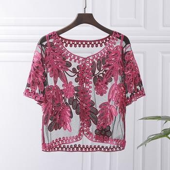 цена Crochet Lace Blouse Women Summer Cardigan Thin 2019 Korean Fashion Short Cardigan Cropped Flower Sequins Kimono Cardigan онлайн в 2017 году